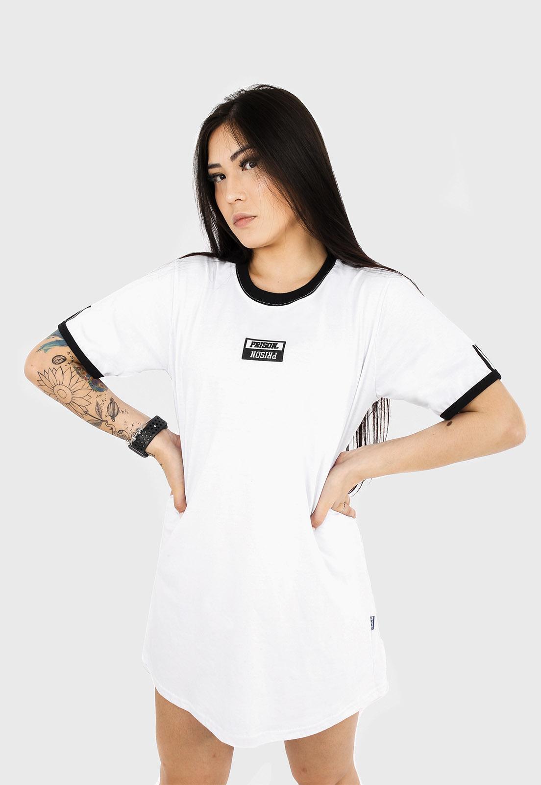 Camisão  streetwear prison feminino Premium Branco