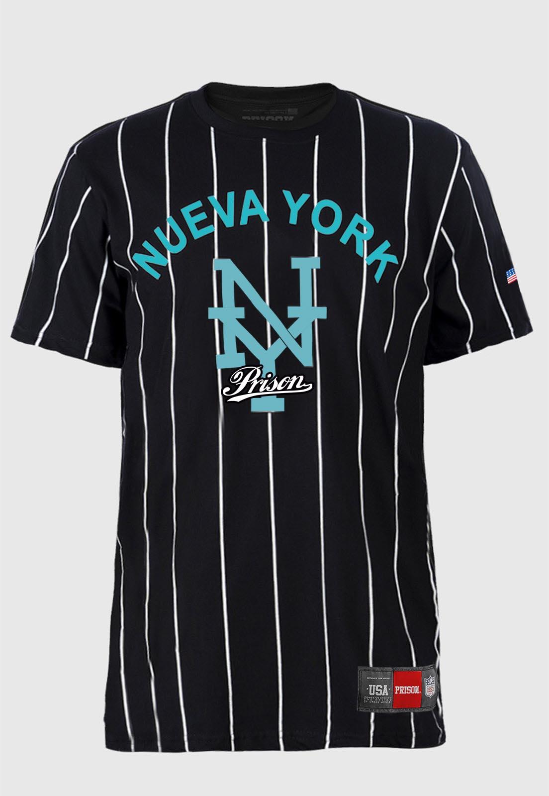 Camiseta Baseball listrada Prison Nueva York Exclusiva