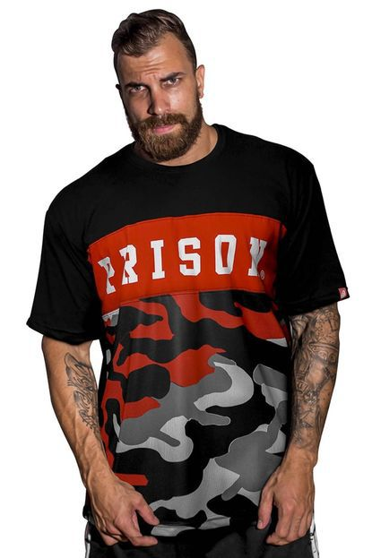 Camiseta Camu red Street Prison Preta