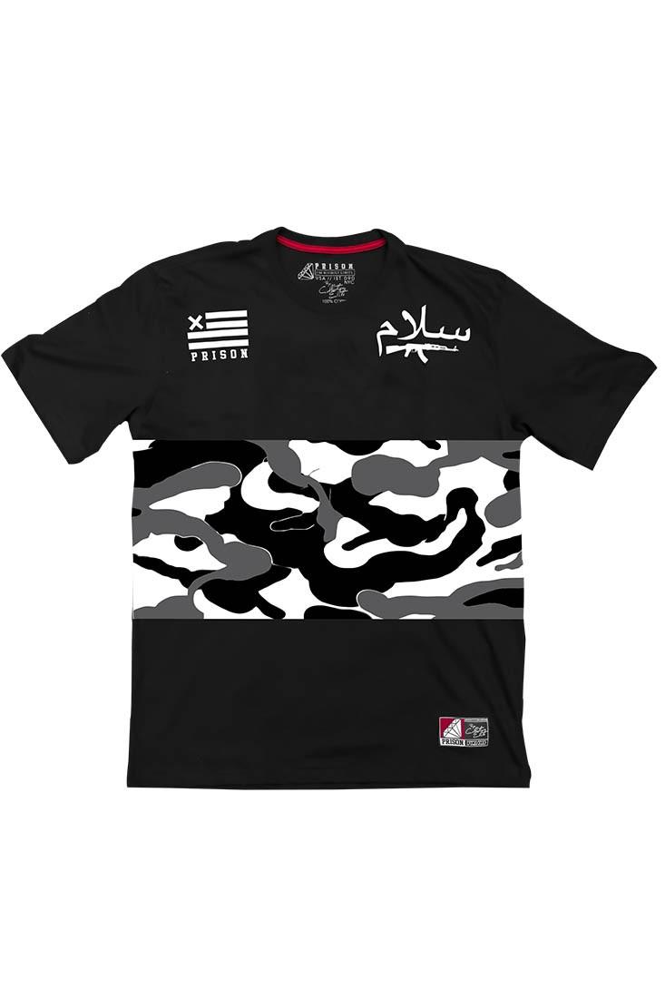 Camiseta Street Camuflada Gray Prison Preta