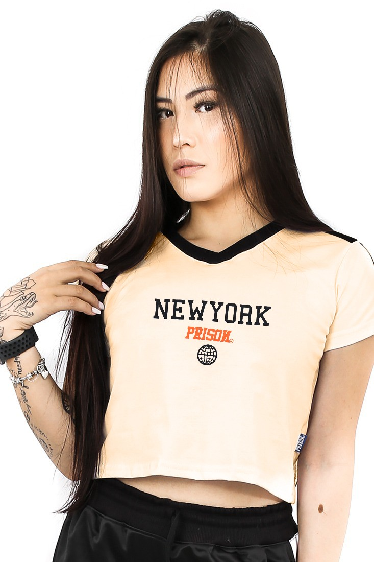 Camiseta Cropped Feminino Prison New York Track Off White