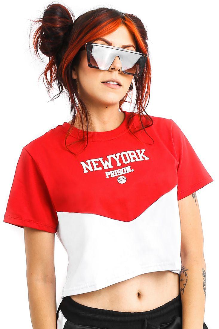 Camiseta Cropped Prison New York Sunset Vermelha Feminina