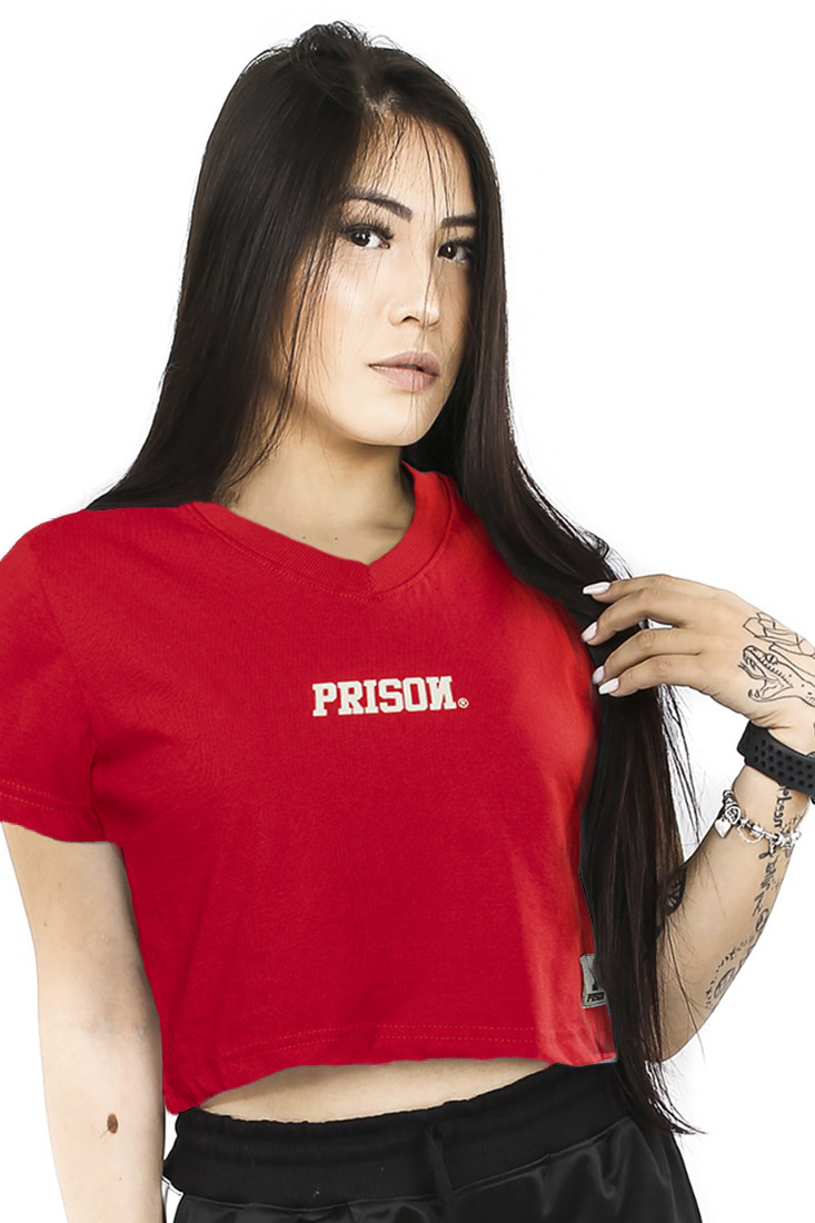 Camiseta Cropped Prison Color Red