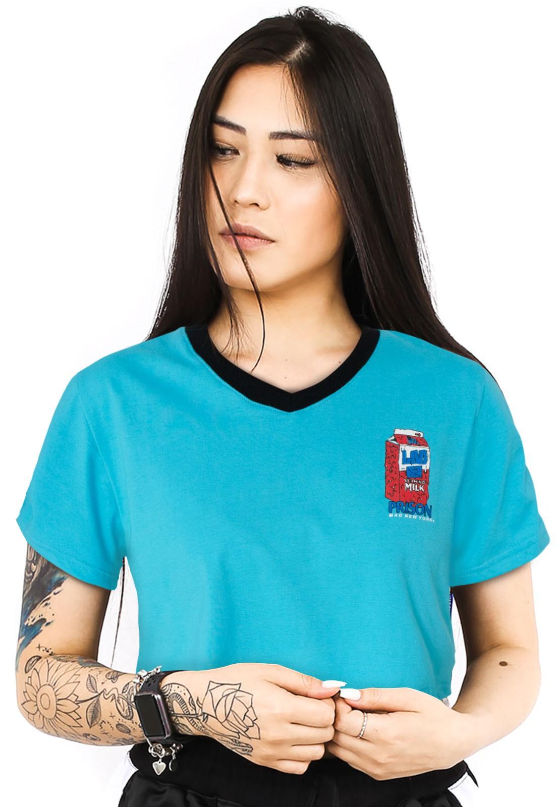 Camiseta Cropped Prison Feminina Acid Milk Azul