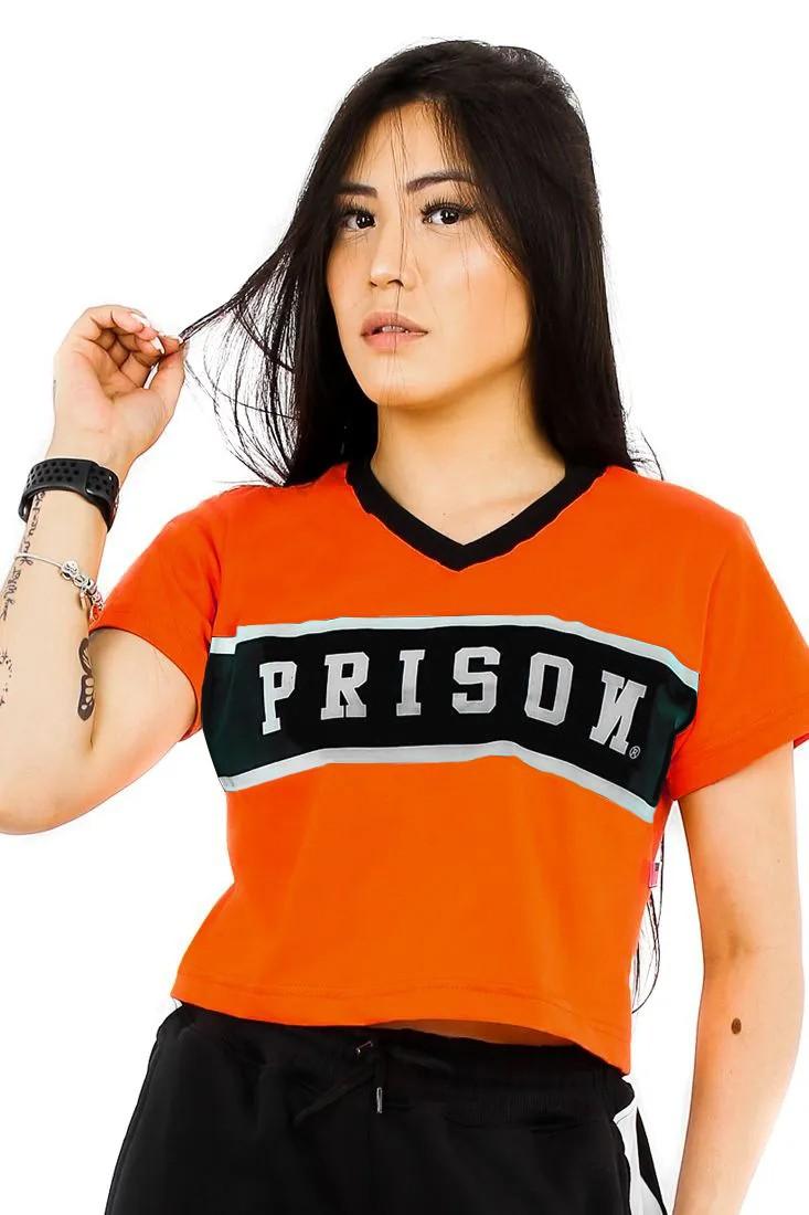 Camiseta Cropped Prison Feminina Black Stripe Laranja