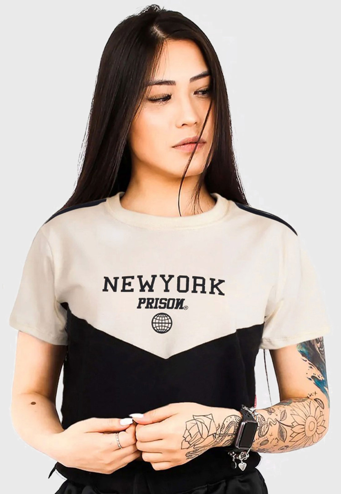 Cropped prison new york off white