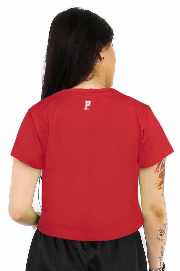 Camiseta Cropped Prison Feminina Nueva York Vermelha