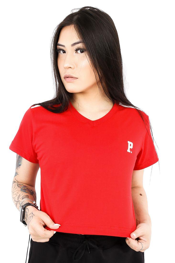 Camiseta Cropped Prison Feminina Premium P Vermelha