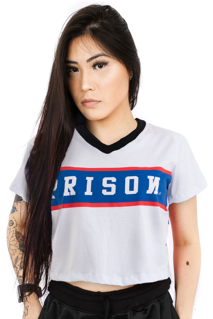 Camiseta Cropped Prison Feminina Stripe USA