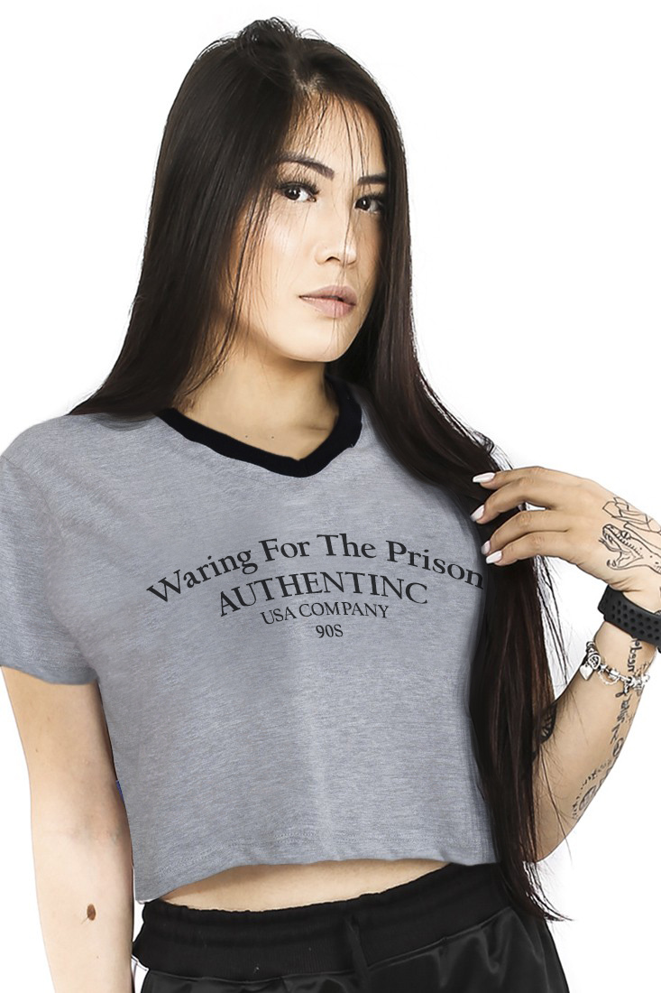 Camiseta Cropped Prison Feminina Warring For The Prison Mescla