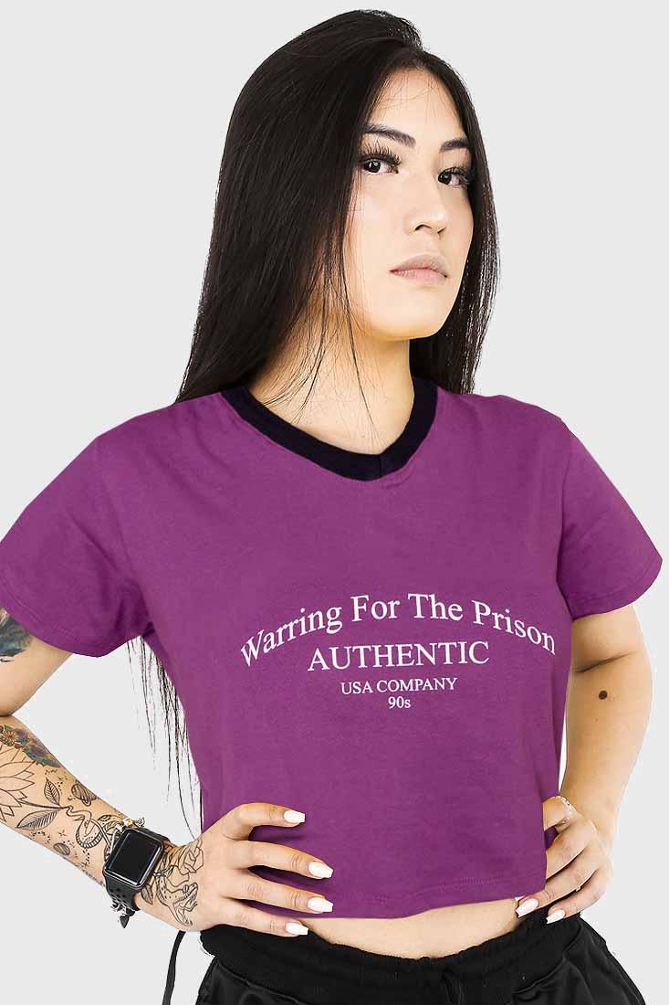 Camiseta Cropped Prison Feminina Warring For The Prison Roxo