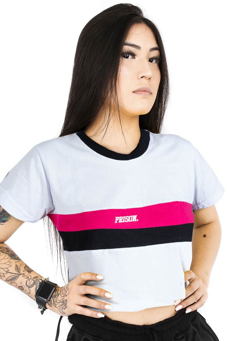 Camiseta Cropped Prison Listrada Black and Pink