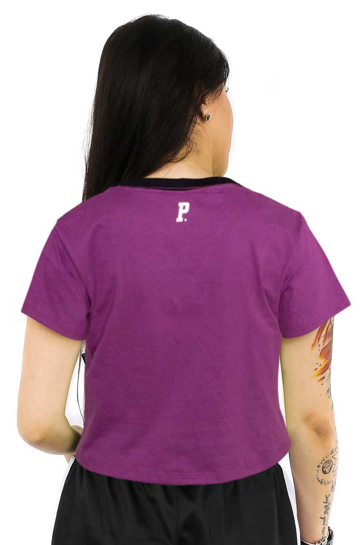 Camiseta Cropped Prison NY Roxo