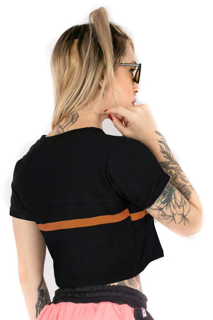 Camiseta Cropped Prison Orange Line