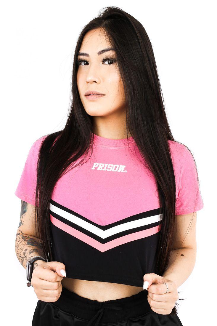 Camiseta Cropped Prison Sky Lines Rosa Feminina