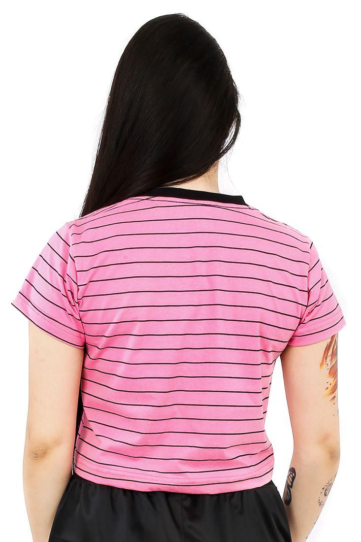 Camiseta Cropped Prison Feminina Stripes Rosa