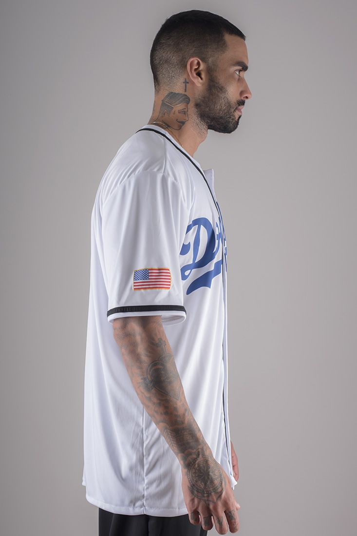Camiseta de Baseball Dodgers Prison Branca