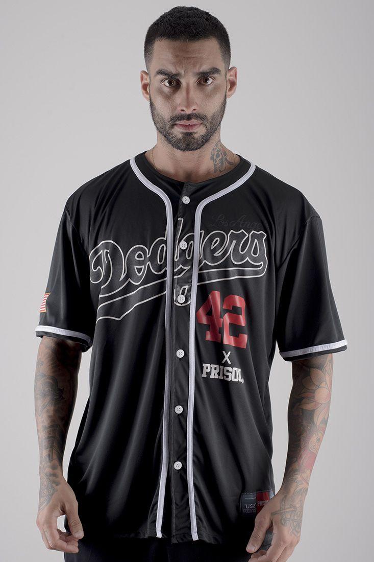 Camiseta de Baseball Dodgers Prison Preta