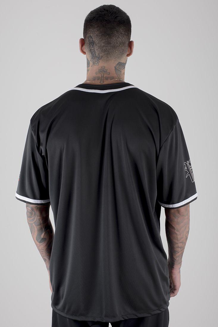 Camiseta de Baseball Prison Americana Preta