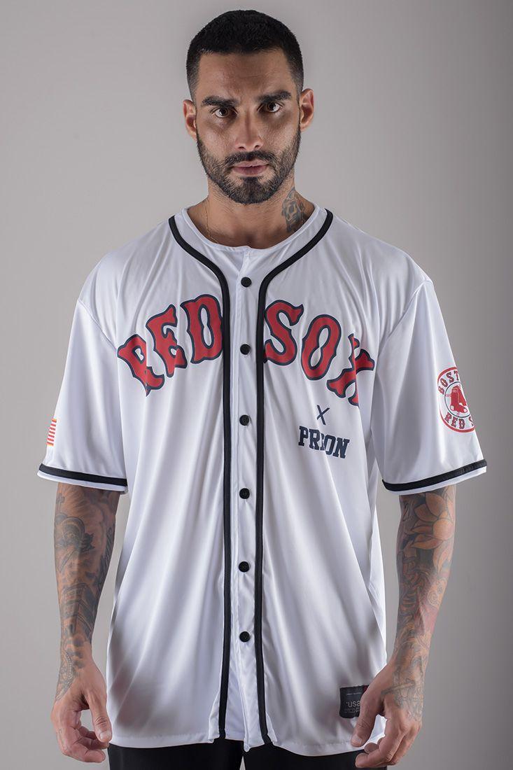 Camiseta de Baseball Red Sox  Prison Branca