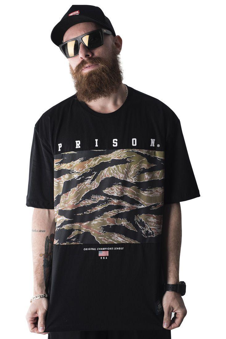 Camiseta Exclusive Camuflada Street Prison Preta