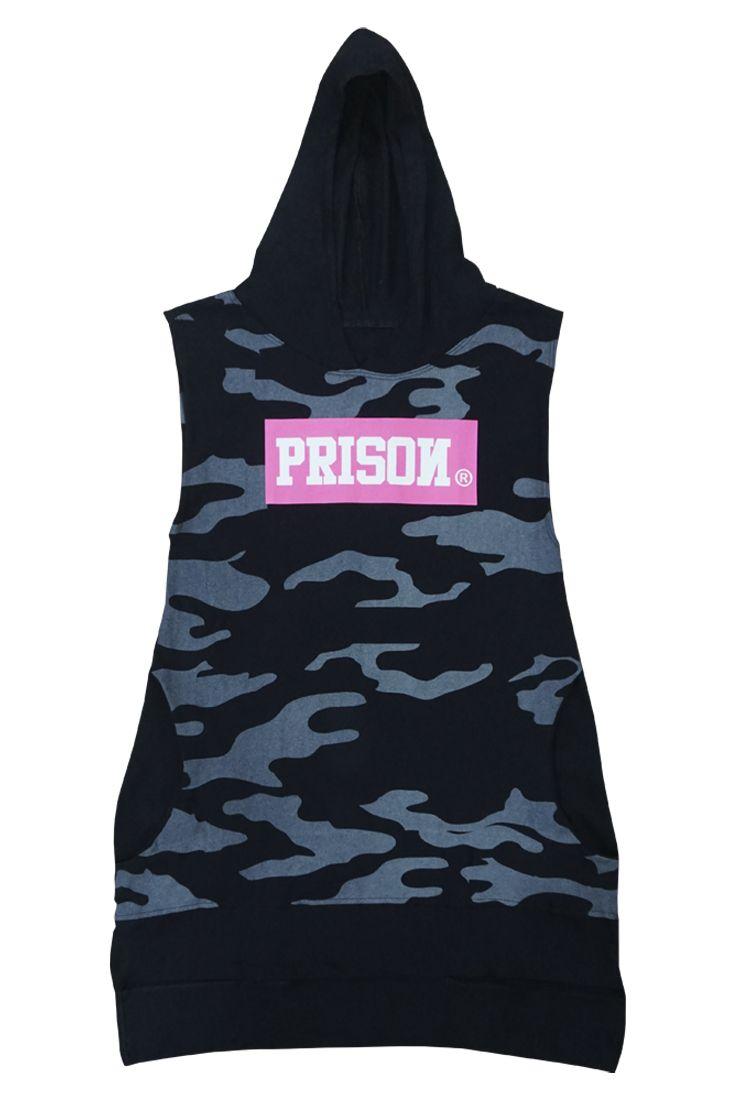 Camiseta Feminina com Capuz Prison Camuflada