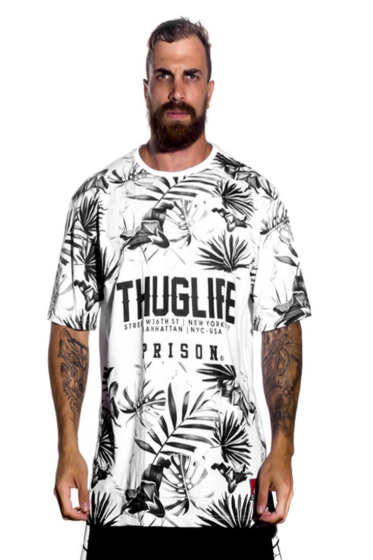 Camiseta Floral Thuglife Prison Branca