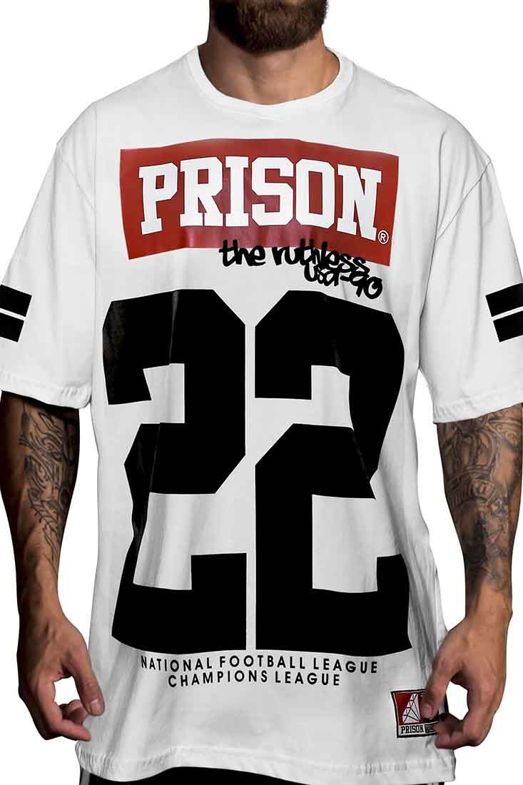Camiseta football americano 22 Prison Branca