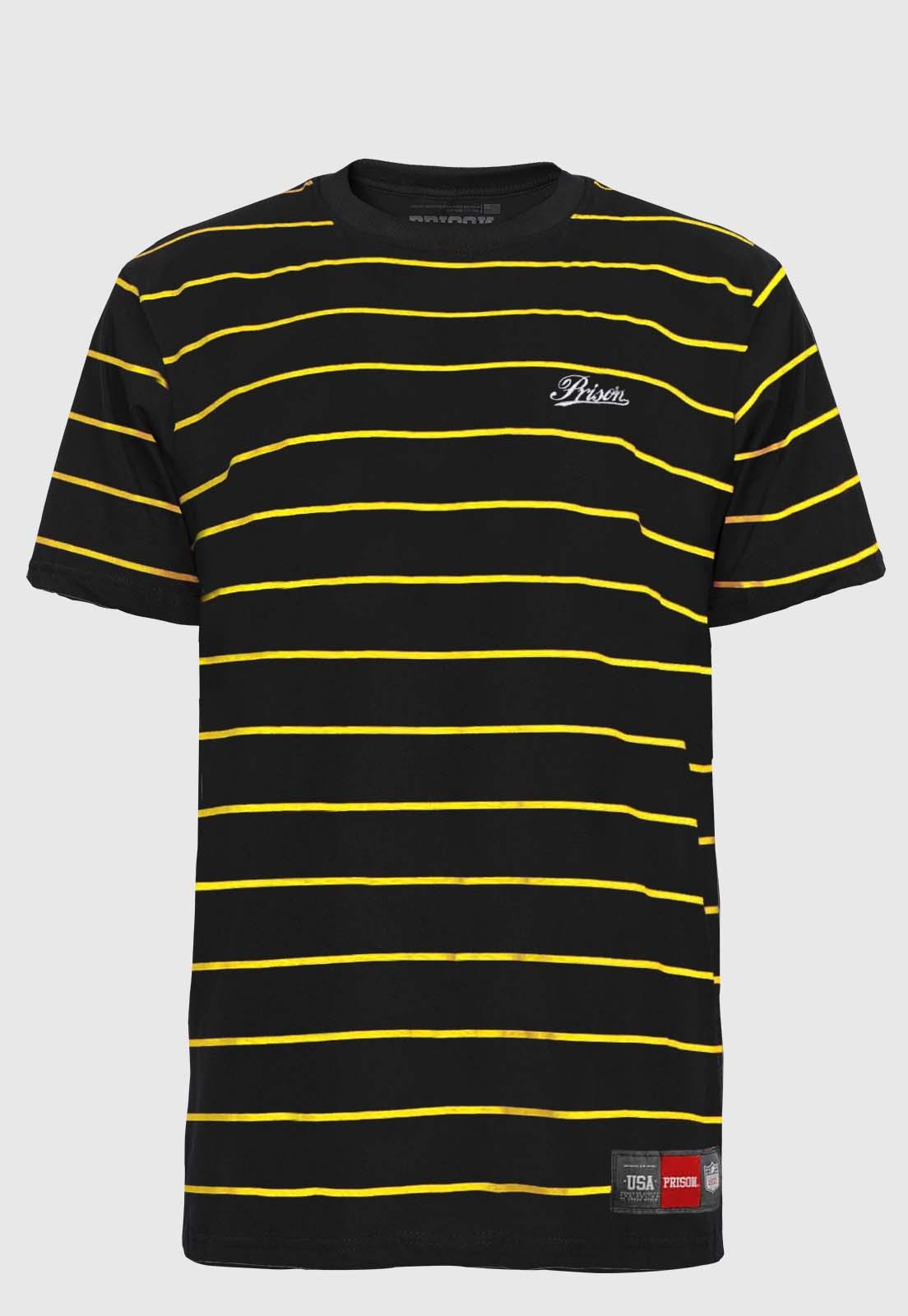 Camiseta Listrada Prison Logo Needlework