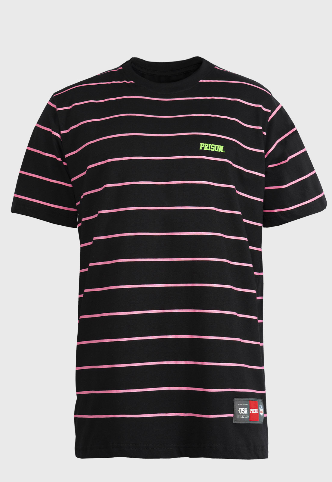 Camiseta Listrada rosa Prison logo Green