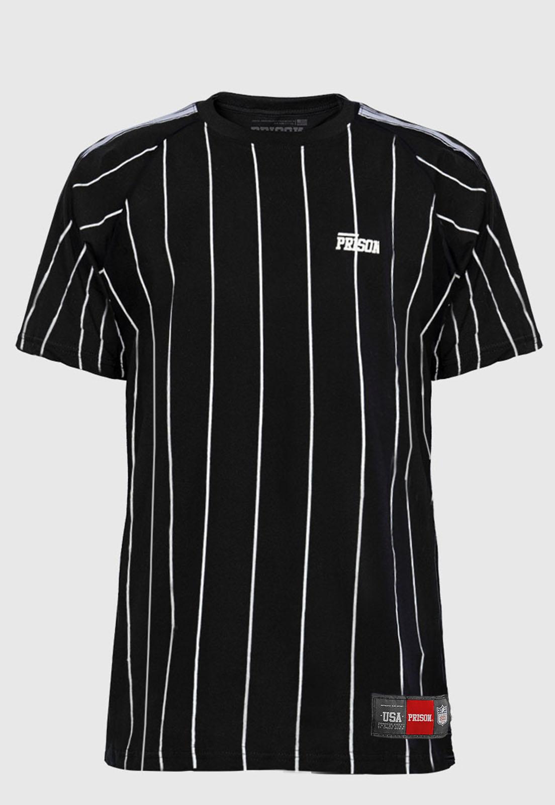 Camiseta Listrada Com Viés Vertical Prison NY