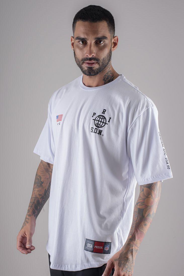 Camiseta LongLine Prison Street Nyc Branca