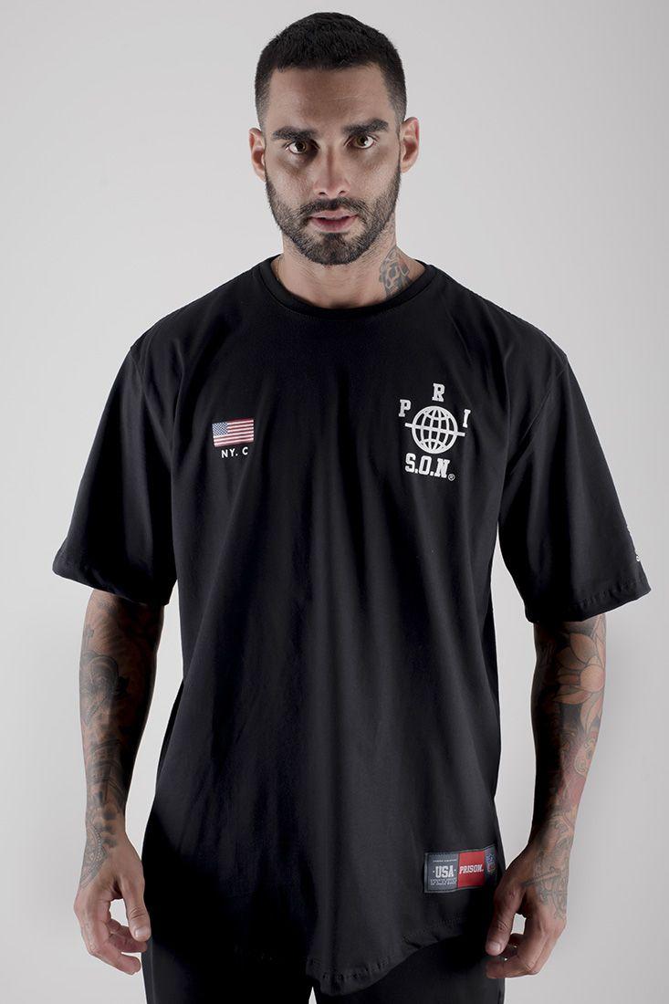Camiseta LongLine Prison Street Nyc Preta