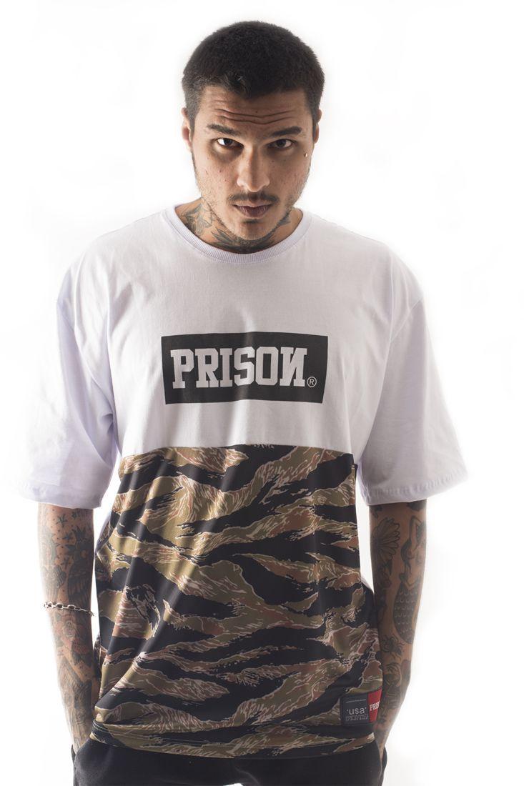 Camiseta New Camuflada Street Prison Branca Multicolorido
