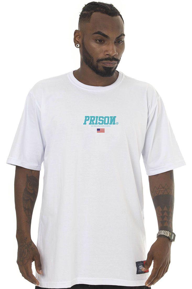Camiseta Prison Blue Usa Branca