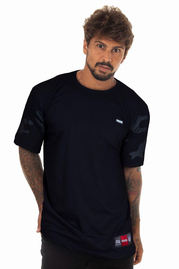 Camiseta Prison Camouflaged Sleeve Preta