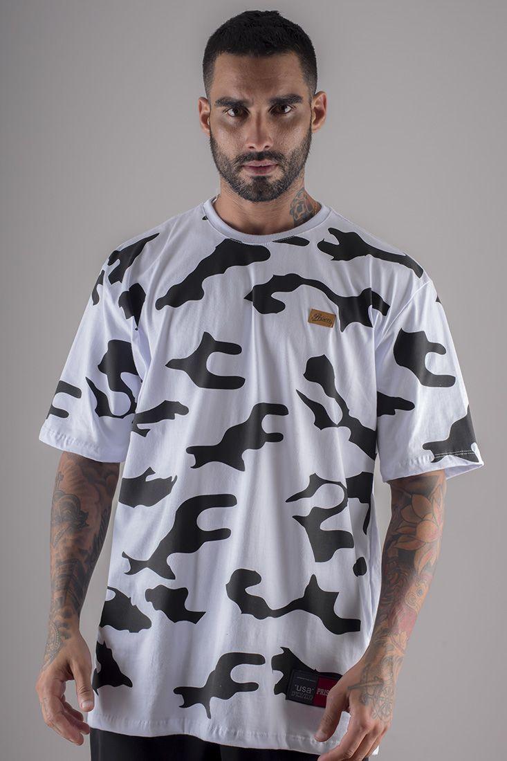 Camiseta Prison Camuflada Cow Branca