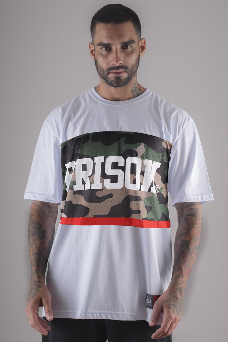 Camiseta Prison Camuflada Red Middle Branca
