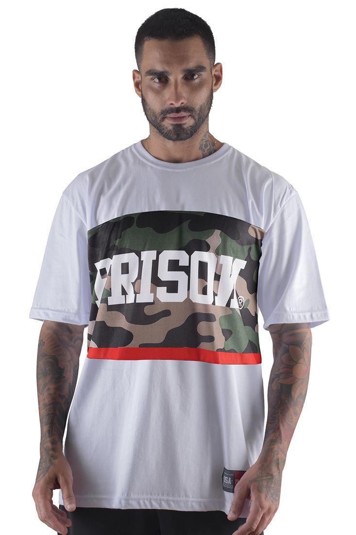 Camiseta Prison Camuflada Red Middle Branca 0dabf44ea59