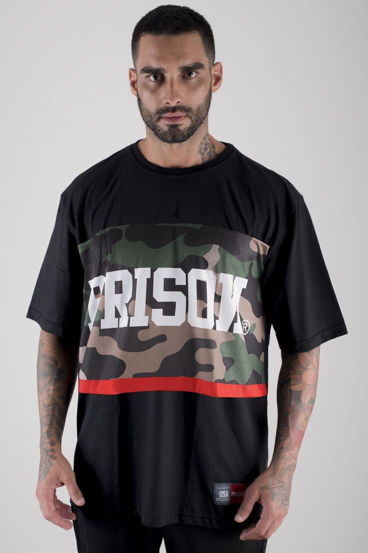 Camiseta Prison Camuflada Red Middle Preta