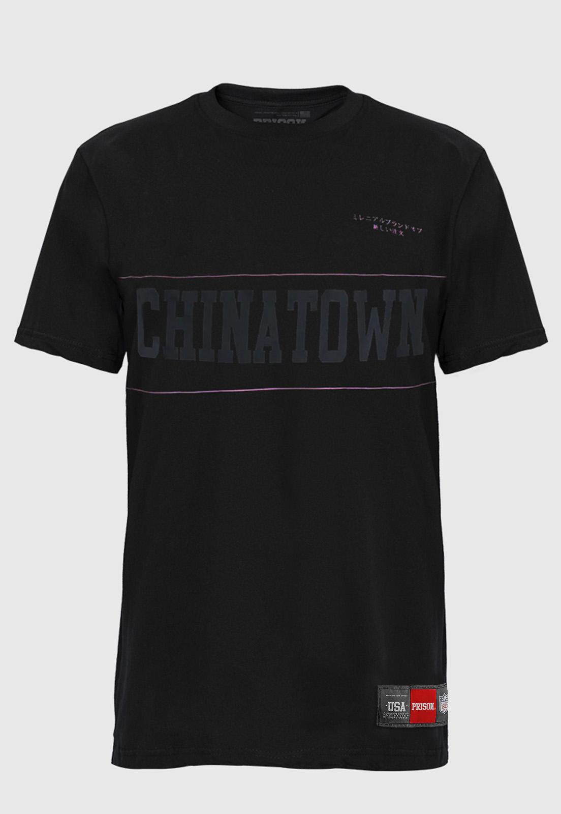 Camiseta Prison chinatown Pink line Preta