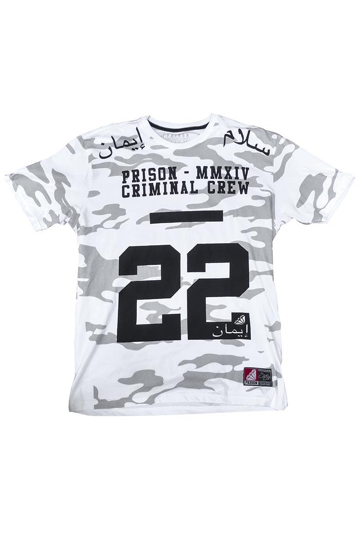 Camiseta Street Camuflada Prison branca