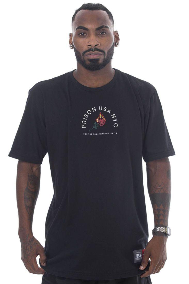 Camiseta Prison Fire Rose Preta