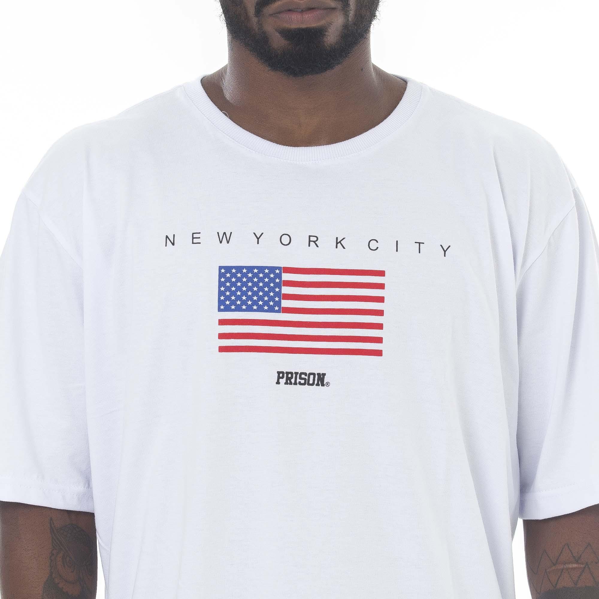 Camiseta Prison Flag Usa Branca