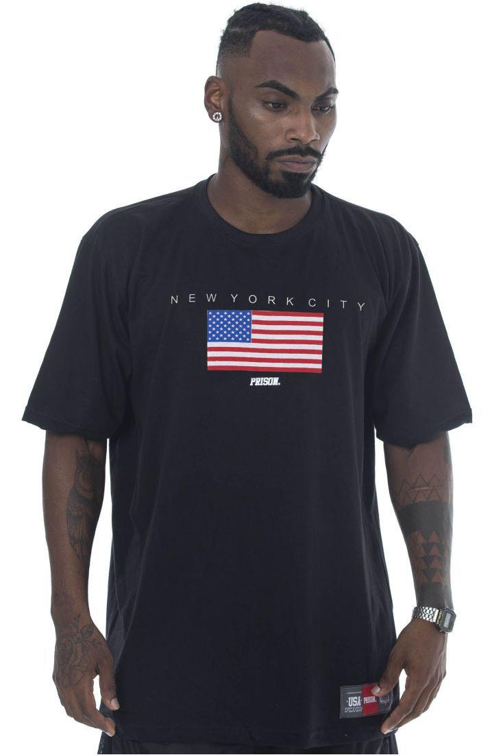 Camiseta Prison Flag Usa Preta
