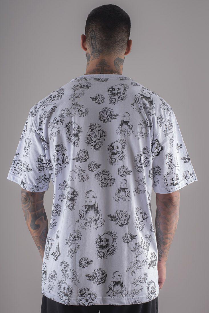 Camiseta Prison Floral in Pray Branca