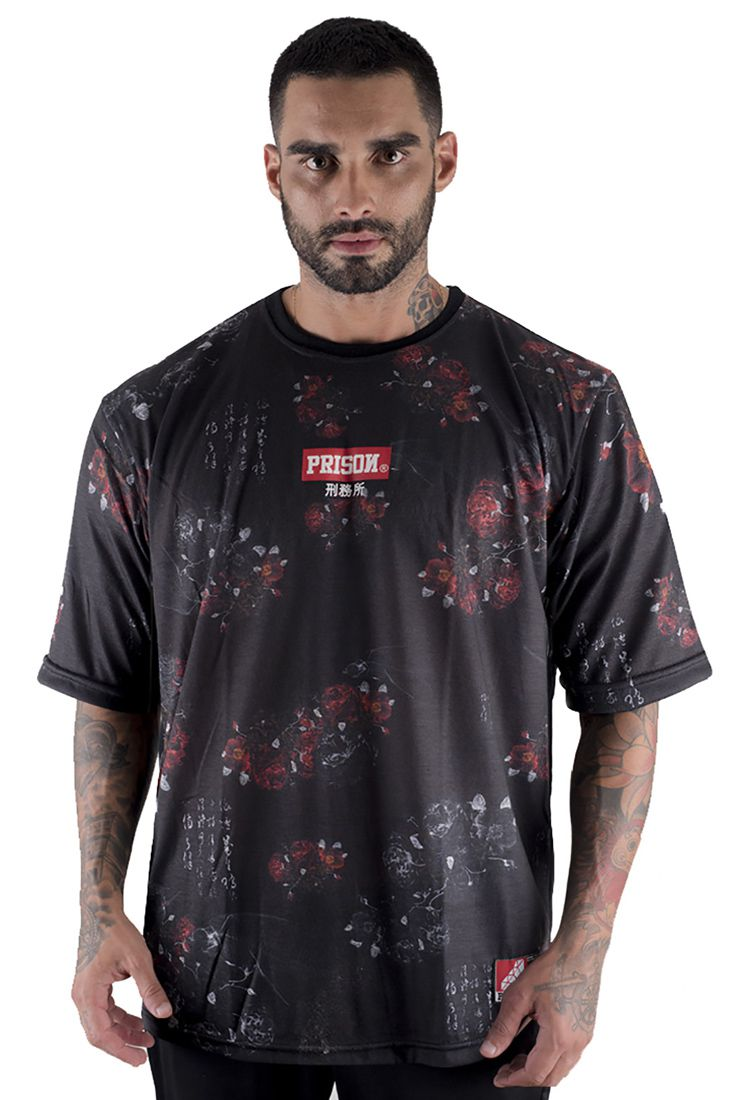 Camiseta Prison Floral shodo Preta