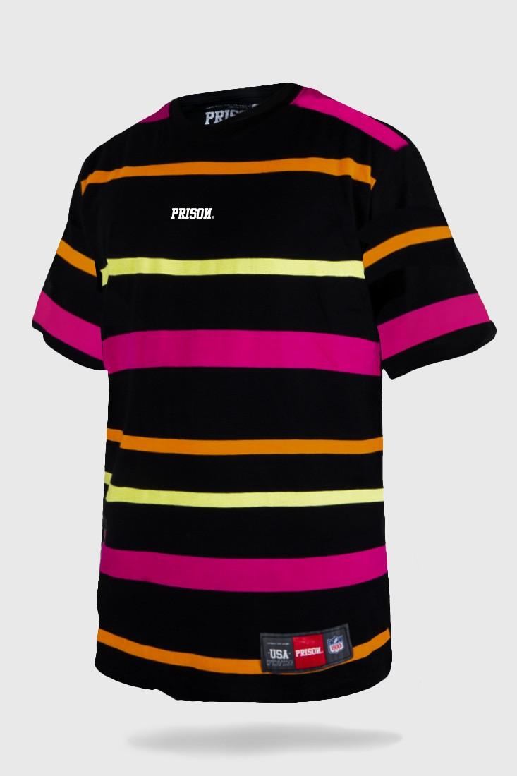 Camiseta Prison Listrada Color Striped Preta