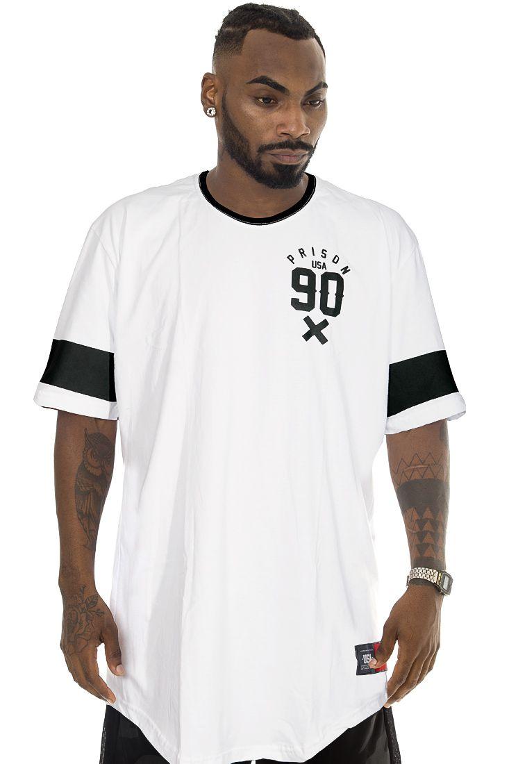 Camiseta Prison Long Line USA 90 Branca