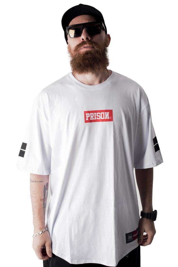 Camiseta Prison Longline Box Branca Multicolorido
